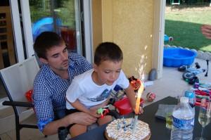 Clément avec son Parrain pour ses 7 ans!